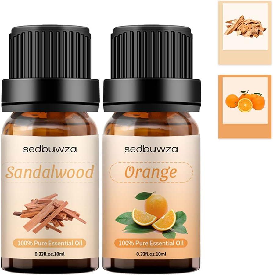 Sandalwood + Orange Essential Oil Set 100% Pure Essential Oil Sets for Aromatherapy & Diffuser Essential Oils Kit