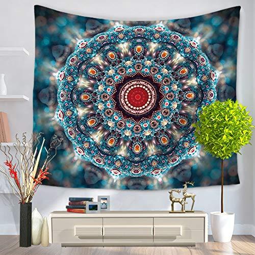 XIAOBAOZIGT Tapijt, hippie, kleur mandala, wandbehang, blauw, Bohemen, 3D digitale bedrukking, deken, yogamat, home slaapkamer, hangende decoratie 200×150cm