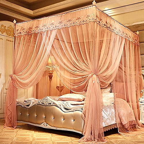 4 Corners Post Bed Canopy Elegant Bed Curtain for Girls Adults 3-Opening Mosquito Net Lace Edge Princess Bedroom Decoration 1.8 * 2.0m
