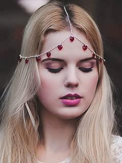 Doubnine Red Heart Head Piece Crystal Bohemian Hair Accessory Headband Headpiece Halloween Christmas Hair Piece for Women