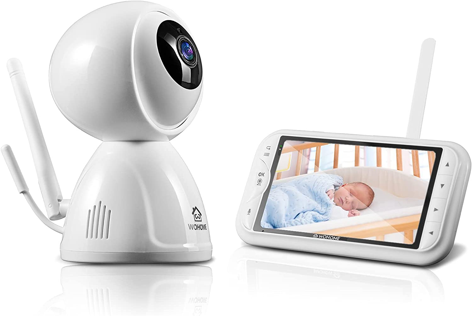 Wohome Video Baby Monitor with Camera and Audio, 5-inch 720p Dis