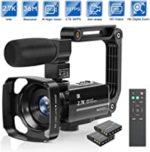 Camcorder Video Camera 2.7K Ultra HD YouTube Vlogging Camera 36M 30FPS 16X Digital Zoom Camcorder 3.0 Inch 270� Rotatable Screen with Microphone Handheld Stabilizer, Remote Control, Lens Hood