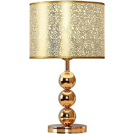 Lampe de Table décorative dorée, Lampe de Table de Chevet hôtel Moderne Salon Simple Chambre à Coucher, Corps de Lampe Boule Magnifique doré avec Design Abat-Jour en Acrylique Creux, Haute 42CM