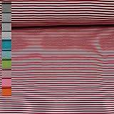 Ringelbündchen Andy, Schlauchware, Streifen 3mm, rot/weiß