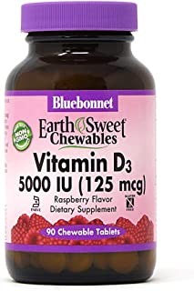 Bluebonnet Nutrition Earth Sweet Vitamin D3 5000 IU Chewable Tablets, Aids in Muscle & Skeletal Growth, D3, Non GMO, Glute...