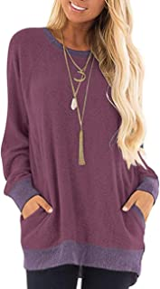 AUSELILY Women's Casual Short Sleeve Round Neck Loose Tunic T Shirt Blouse Tops