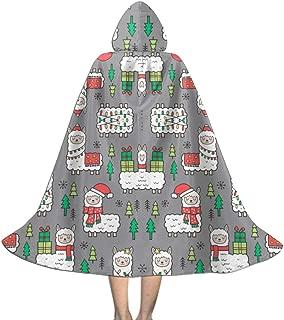 Holidays Christmas Llamas On Dark Grey Wallpaper (8127) Kids Hooded Cloak Cape for Christmas Halloween Cosplay Costumes