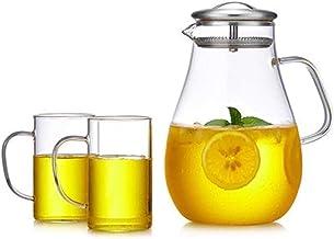 Kubek 2-litrowy szklany dzbanek o dużej pojemności i trwałej herbaty lodowej idealny do mrożonej herbaty kawy mleka butelk...