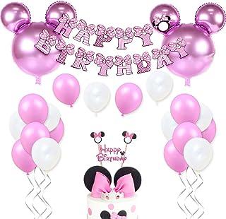 Decoraciones de cumpleaños de Minnie Mouse para niñas Suministros para la fiesta Minnie rosa con globos tipo Minnie Mouse, guirnalda de cumpleaños feliz y adorno para pasteles
