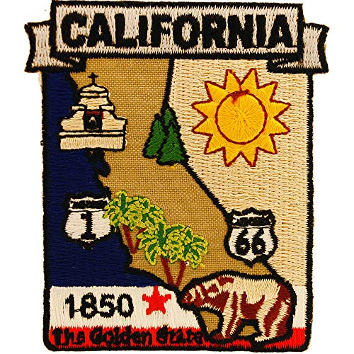 California State Shaped Map Embroidered Patch, with Iron-On Adhesive