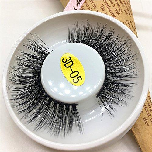 Faux cils 3D de luxe noirs noirs, longs cils duveteux,longs cils naturels avec volume pour maquillage pour femmes,aspect rond naturel,noirs longs et épais,style à la mode(Nior)