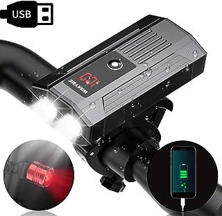 自転車ライト WAKYME スマホ充電でき USB充電式 バッテリー表示ディスプレイ 1200ルーメンT6高輝度 自転車ヘッドライト 5段階調光 IP65防水 懐中電灯 テールライト付き スポーツ・アウトドア 自転車・サイクリング 防災フロント用