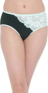 Clovia Women's Cotton Mid Waist Hipster Panty with Floral Lace Insert