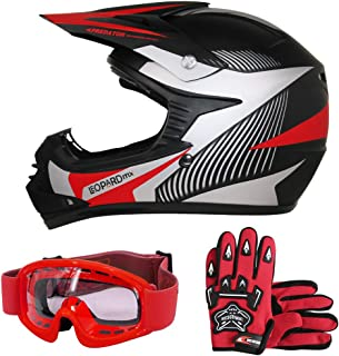 Leopard LEO X19 Rot Kinder Motorrad Helm L(53 54cm) +Handschuhe L 7cm + Zorax Brille Kinder Motorradhelm Full Face MX Helmet Mädchen Jungen Dirt Bike