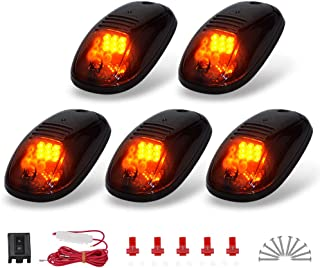 YITAMOTOR Cab Marker Lights 5 x Amber Top Clearance Roof Running Lights with Wiring Harness Compatible for Ford Dodge Truck SUV Pickup 4x4 (Universal)