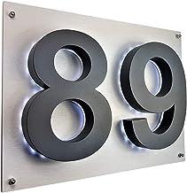 Lukadria LED huisnummer 3D antraciet RAL7016 roestvrij staal V2A verlicht huisnummerbord Arial huisbord TWEE 35cm x 28cm K...