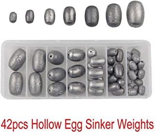 AGOOL Egg Fishing Sinker Weights Kit Assorted Size Oval Weight Sinker for Saltwater, Freshwater or Bass Fishing 7 Sizes (42 pcs)