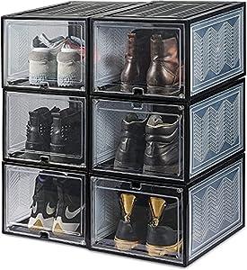 HLD Caja de Almacenamiento de Zapatos Frontales de Gota magnética, Organizador de Zapatos Plegable Plegable 6 Paquete apilable (Grande) Zapateros y hormas para Zapatos (Color : Black)