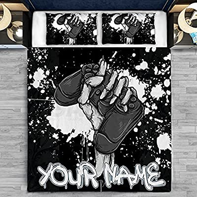 Personalized Customized Bedding Set - Game Gaming Controller Custom Name with Pillow Cover - Duvet Cover - Flat Sheet 3 or 4 Pieces, Size Twin Full Queen King