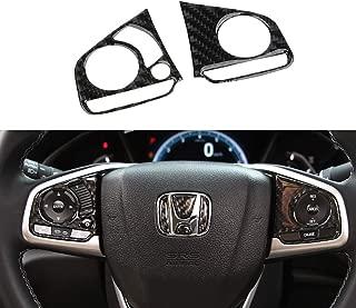 TopDall Carbon Fiber Steering Wheel Media Panel Sticker for Honda Civic 2016-2019