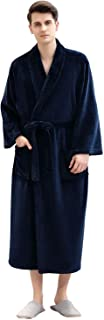 Robes for Mens Fleece Plush Fluffy Bathrobes Winter Warm Mid-Calf Length Housecoat Soft Pajamas Sleepwear Dressing Gown