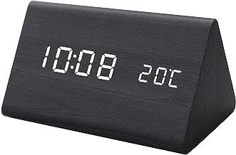 LED Digital Triangle Houten Klok, Home Sound Control Smart Student Clock, Creatieve Lichtgevende Silent Temperatuur Wekke...