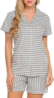 kolila Women's Pajamas Set Short Sleeve Striped Front Button Loose Jumpsuit Satin Sleepwear Top and Shorts Pajama Sets