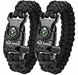 A2S Protection Paracord Bracelet K2-Peak – Survival Gear Kit with Embedded Compass, Fire Starter, Emergency Knife & Whistle (Black / Black 9')