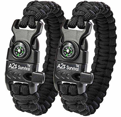 A2S Protection Paracord Bracelet K2-Peak – Survival Gear Kit with Embedded Compass, Fire Starter, Emergency Knife & Whistle (Black/Black 8')