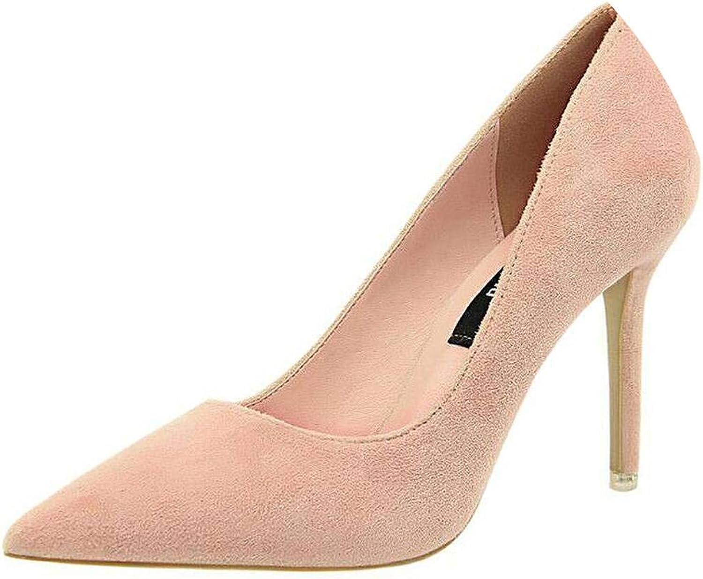 Fan-Shu Women shoes Purple shoes Heel Woman Flock High Heels Women Pumps Ladies Office shoes