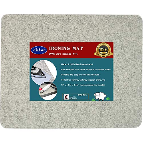 "17"" x 13.5"" Quilting Ironing Pad for Quilters - Wool Pressing Mat, Portable Wool Felted Iron Board"
