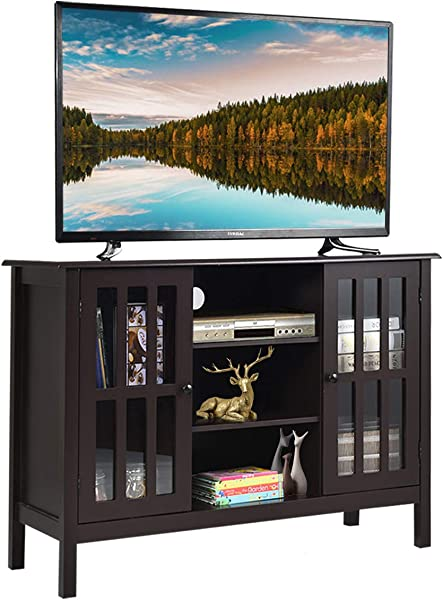 Tangkula 电视架经典设计木质收纳控制台独立橱柜电视多达 45 个媒体娱乐中心家用客厅家具电视架柜棕色