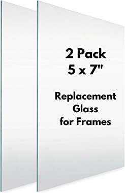 Icona Bay 5x7 Picture Frame Glass Replacement (5 x 7, 2 Pack) Replacement Glass for 5 by 7 Photo Frame, Real Glass Cover