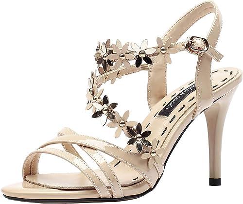 AIYOUMEI - Sandalias de mujer de Piel con tacón de 8 cm, Sandalias de tacón Alto, Diseño de Flores