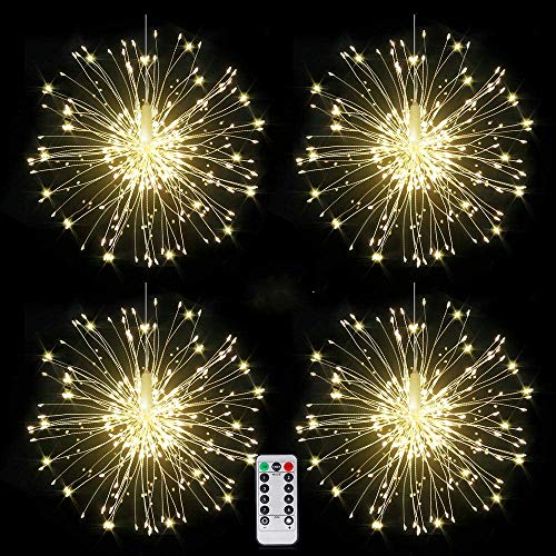 4 Pack Firework Lights Led Copper Wire Starburst String Lights 8 Modes Battery Operated Fairy Lights with Remote,Wedding Christmas Decorative Hanging Lights for Party Patio Garden Decoration
