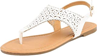 DREAM PAIRS Women Rhinestone Casual Wear Cut Out Flat Sandals