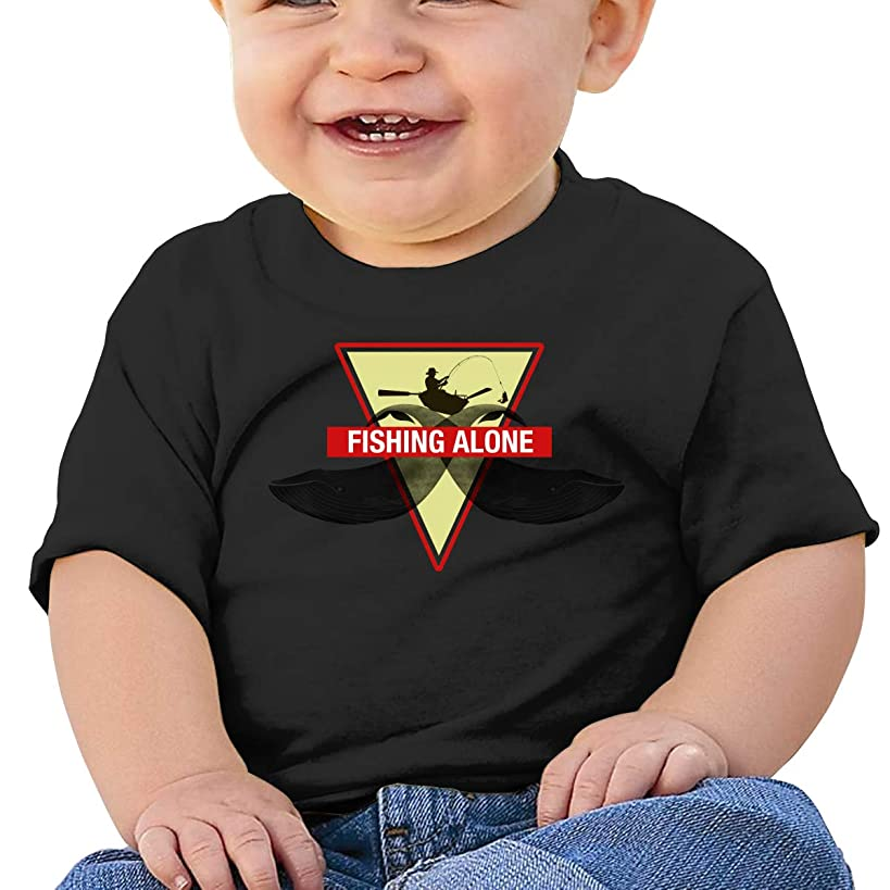 ,Love Fishing Fishing Fisherman The Island Fishing Alone Baby T Shirts Toddler Short Sleeve Top for Boys and Girls Black