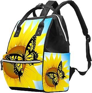 Multifunctionele grote baby luiertas rugzak, zonnebloem en vlinder luiertas reizen rugzak voor mama en papa