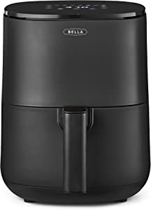 BELLA 2.9QT Touchscreen Air Fryer, No Pre-Heat Needed, No-Oil Frying, Fast Healthy Evenly Cooked Meal Every Time, Dishwasher Safe Non Stick Pan and Crisping Tray for Easy Clean Up, Matte Black