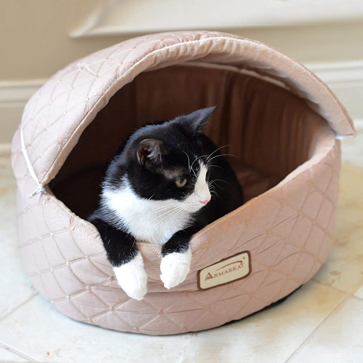 Capped Pet Bed, Nonslip Design Washable, Cat Small Dog Sleeping Bag, Two colors Optional JSSFQK (color   B, Size   43×40×33CM)