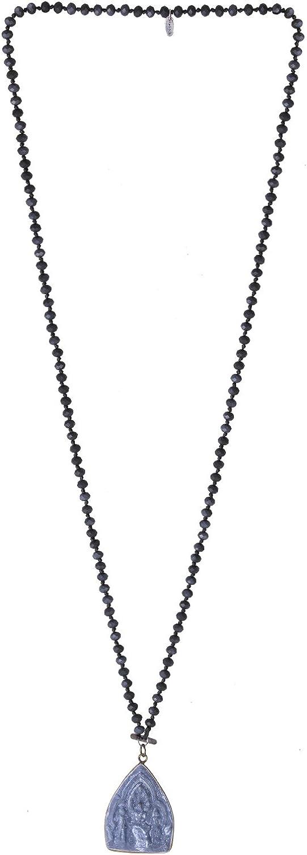 KELITCH 6mm Crystal Beaded Necklace Sakyamuni Buddha Pendant Necklaces Handmade Statement Yoga Necklaces