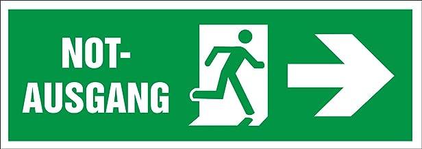 INDIGOS UG - Sticker - veiligheid - waarschuwing - nooduitgang - 297 mm x 105 mm - hotel, bedrijf, bescherming, kinderdagv...