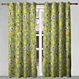Home Curtains Floral Pattern of Line Drawing Style Herbs and Flowers Botanical Field in Full Blossom Multicolor Blackout Curtains Panels for Bedroom 84x63 Inch