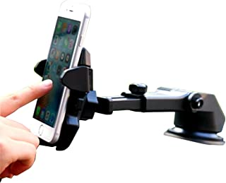 One hand,iBarbe Car Mount Universal Phone Holder Windshield Mount/Dashboard Bracket with Adjustable Arm for iPhone X 8/8 Plus 7 7 Plus 6s Plus 6s 6,Galaxy S9 S9plus,S8 Plus S8 Edge S7 S6,more -Black