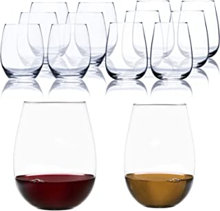Classic Stemless Wine Glass Shatter-Resistant White Red Wines Glasses 12 Set of 6 Pieces 17 Once And 6 Pieces 21 Once Set