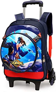 2PCS Boy Rolling Backpack Game Anime School Backpack School Travel with Small Shoulder Bag 6-