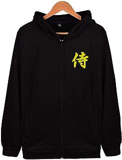 Samurai Kanji Japanese Full Zipper Hoodies Soft Cotton Long Sleeve Sweatshirt Pocket
