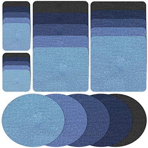 Demason 25 Stück Flicken zum Aufbügeln, Aufbügelflicken Jeans Patches zum Aufbügeln Patch Sticker Bügelflicken Denim Patches Jeans Reparatursatz für Kleidung Reparatur Jeans DIY