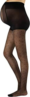 Sheer Maternity Pantyhose with Polka Dots | Patterned Pregnancy Tights | S, M, L, XL | Black | 20 DEN | Made in Italy