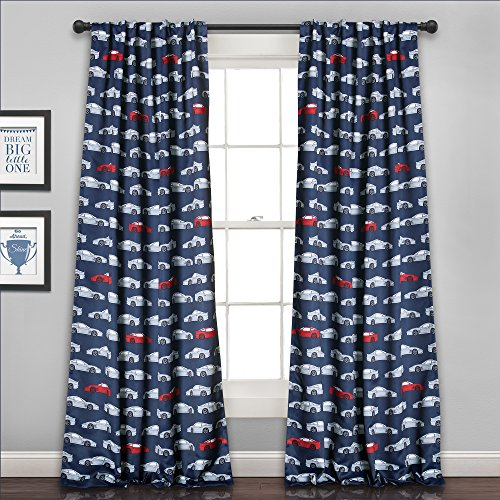 Lush Decor 16t000556 Race Cars Verdunkeln Fenster Vorhang Panel Set, 213,4 x 132,1 cm Marineblau/Rot